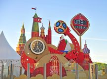 Official countdown of Football World Cup 2018 Russia in Moscow stock photo