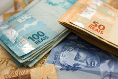 Official currency of Brazil Stock Photos