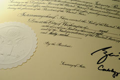 Official Document. Macro of Official U.S. Governement Document with Seal, President and Secretary of State's partial signatures Stock Image