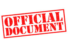 OFFICIAL DOCUMENT. Red Rubber Stamp over a white background stock image