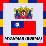 Official ensigns, flag and Myanmar Burma. Official ensigns, flag and coat of arm of Myanmar Burma Stock Photos