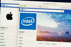Official Facebook pages of Intel and Apple stock photography