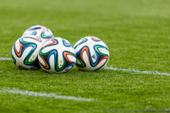 Official FIFA 2014 World Cup ball. On the grass Royalty Free Stock Photography