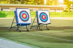Targets on backstops. They are official FITA targets Royalty Free Stock Photo