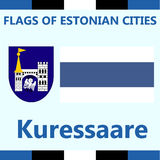 Official Flag of Estonian city Kuressaare stock photography
