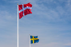 The official flags of Denmark and Sweden Royalty Free Stock Photos