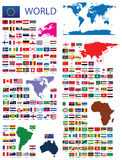 Official Flags of the world. Every continent separately Stock Photos