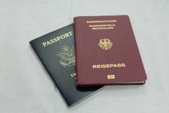 Official German and US Passports royalty free stock photo