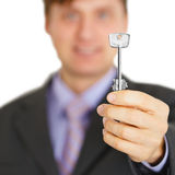 Official gives us key to new house Royalty Free Stock Photography