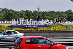 Official hashtag #UCLfinal installation on the street in Kyiv stock photo