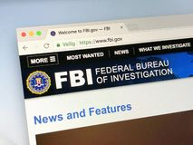 Official homepage of The Federal Bureau of Investigation - FBI. Amsterdam, Netherlands - May 17, 2018: Official homepage of The Federal Bureau of Investigation stock photo