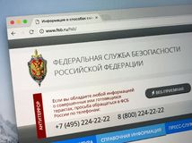 Official homepage of The Federal Security Service of the Russian Federation - FSB. Amsterdam, Netherlands - May 17, 2018: Official homepage of The Federal stock images