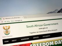 Official homepage of The Government of South Africa. royalty free stock photo