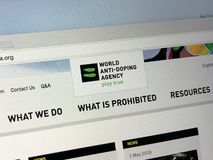 Official homepage of The World Anti-Doping Agency - WADA royalty free stock photo
