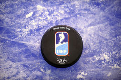 Official ice hockey puck. Official International ice hockey federation approved puck Stock Images