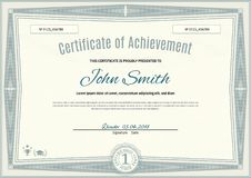 Official light green certificate of a4 format with green guilloche border. Official simple blank.  Vector Illustration