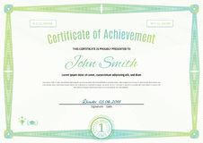Official light green certificate of a4 format with green guilloche border. Official simple blank.  stock illustration