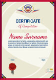 Official light yellow certificate with red border Modern blank Stock Image