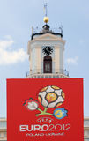 Official logo of the EURO 2012. Official logo of the UEFA European Football Championship EURO 2012 Poland - Ukraine in the Central Square of Chernivtsi, Ukraine Stock Photography