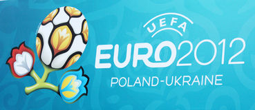 Official Logo of Euro 2012. Official logo on the decoration of subway station in Kharkiv, Ukraine Royalty Free Stock Photography