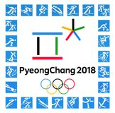 Official logos of the 2018 Winter Olympic Games. Kiev, Ukraine - September 22, 2017: Official logos of the 2018 Winter Olympic Games with kinds of sport in Stock Photo
