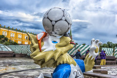 The official mascot of the 2018 FIFA World Cup and the FIFA Confederations Cup 2017 wolf Zabivaka at the Manege Square in Moscow. Royalty Free Stock Photo