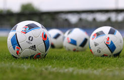 Official matchballs of UEFA EURO 2016 (Adidas Beau Jeu) Stock Photography