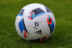 Official matchballs of UEFA EURO 2016 (Adidas Beau Jeu) Royalty Free Stock Images