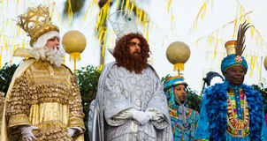 Official meeting ceremony. BARCELONA, SPAIN – JANUARY 5, 2017:  Official ceremony of meeting Three Magi in port during festive celebration. Barcelona Stock Photography
