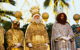 Official meeting ceremony. BARCELONA, SPAIN – JANUARY 5, 2017:  Official ceremony of meeting Three Magi in port during festive celebration. Barcelona Stock Images