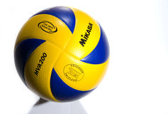 Official mikasa volleyball. New model of volleyball, FIVB approved, played during official tournaments, isolated on white background Royalty Free Stock Photography