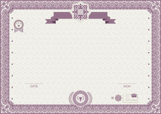 Official modern certificate. Pink ornamental border EPs 8 Royalty Free Stock Images