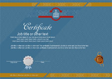 Official modern certificate with wafer. Official modern blue certificate and wafer Royalty Free Stock Image
