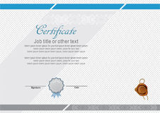 Official modern certificate with wafer and many logos. Official modern white certificate and wafer and many logos.Education certificate Royalty Free Stock Images