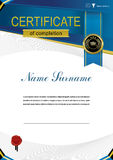 Official modern education certificate and blue ribbon, black emblem Royalty Free Stock Image
