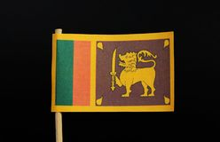 The official and national flag of Sri Lanka on toothpick on black background. A yellow field with two panels: the smaller hoist- stock image