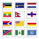 The Official National Flags on Metal Texture Plates Stock Images