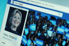 Hillary Clinton facebook page. Official page of American politician Hillary Clinton on social media network facebook royalty free stock image