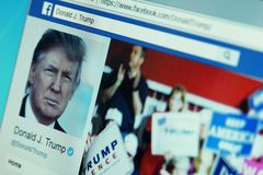 Donald Trump facebook page. Official page of President of United States of America Donald Trump on social media network facebook stock images