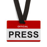 Official Press Pass. Red and White Press Badge  On white Background Stock Photos