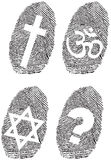 Official religion and fingerprint. Illustration Stock Images