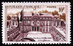 Official residence of the President of the France Elysee Palace in Paris, circa 1957. MOSCOW, RUSSIA - APRIL 2, 2017: A post stamp printed in France shows the stock photo