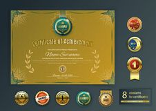 Official retro gold certificate turquoise design elements. Set of different gold emblems. Vintage modern blank. Classical style Stock Images