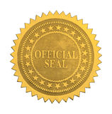 Official Star Seal. Ornate Gold Official Seal with Stars Isolated on White Background stock photography