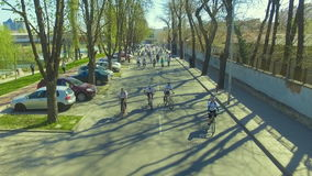 Official start of the bike season in Plovdiv, Bulgaria stock footage
