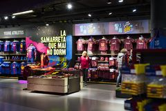 Official Store FC Barcelona , clothing and footwear team of souvenirs and paraphernalia for fans of the team and visitors of the s. BARCELONA, SPAIN - 12 JANUARY Royalty Free Stock Photo