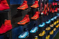 Official Store FC Barcelona , clothing and footwear team of souvenirs and paraphernalia for fans of the team and visitors of the s. BARCELONA, SPAIN - 12 JANUARY royalty free stock photos
