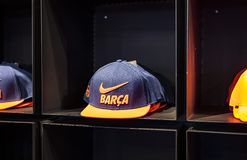 Official Store FC Barcelona , clothing and footwear team of souvenirs and paraphernalia for fans of the team and visitors of the s. BARCELONA, SPAIN - 12 JANUARY royalty free stock image
