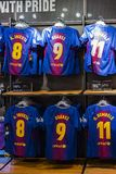 Official Store FC Barcelona , clothing and footwear team of souvenirs and paraphernalia for fans of the team and visitors of the s. BARCELONA, SPAIN - 12 JANUARY stock photography