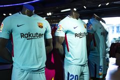 Official Store FC Barcelona , clothing and footwear team of souvenirs and paraphernalia for fans of the team and visitors of the s. BARCELONA, SPAIN - 12 JANUARY stock images